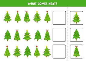 wat daarna komt met cartoon kerstbomen. vector