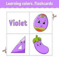 kleuren leren. logische puzzel voor kinderen. onderwijs ontwikkelend werkblad. leerspel. activiteitenpagina. eenvoudige vlakke geïsoleerde vectorillustratie in leuke cartoonstijl.