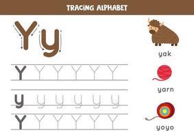 alfabet letter y traceren met schattige cartoonafbeeldingen.