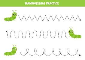 traceer de lijnen met schattige rupsen. Schrijf oefening.