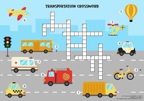 kruiswoordraadsel voor kinderen met cartoon transportmiddelen.