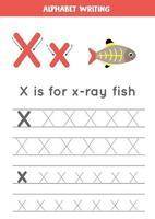 alfabet letter x met schattige cartoon x ray vis traceren.