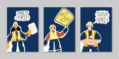 veiligheid eerste industriële hand getrokken posters set