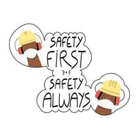 veiligheid eerst veiligheid altijd met de hand geschreven zin met werknemers in gezichtsmaskers