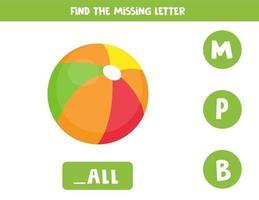 zoek de ontbrekende letter en schrijf deze op. schattige cartoon bal.