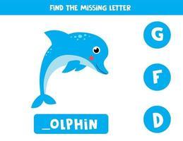 zoek de ontbrekende letter en schrijf deze op. schattige cartoon dolfijn.