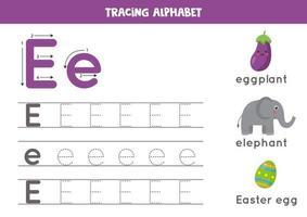 alfabet letter e traceren met schattige cartoonafbeeldingen. vector