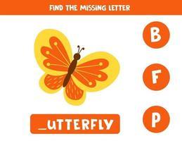 zoek de ontbrekende letter en schrijf deze op. schattige cartoon vlinder.