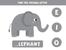 zoek de ontbrekende letter en schrijf deze op. schattige cartoon olifant.