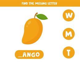zoek de ontbrekende letter en schrijf deze op. cute cartoon mango fruit.