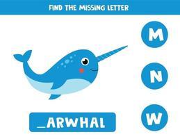 zoek de ontbrekende letter en schrijf deze op. schattige cartoon narwal. vector
