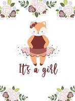 baby shower uitnodigingen sjabloon. baby meisje aankomst. vector uitnodiging met vos en bloemen.