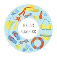 een concept met als thema een strandvakantie. platte vectorillustratie. heldere zomerkleuren. zee seizoen.