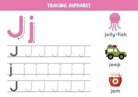 alfabet letter j traceren met schattige cartoonafbeeldingen.