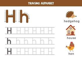 alfabet letter h traceren met schattige cartoonafbeeldingen.