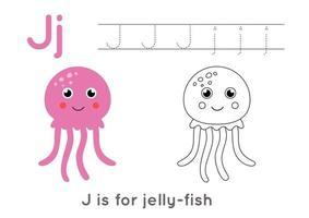 kleur- en tracering pagina met letter j en schattige cartoon kwallen.