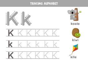 k is voor koala, kiwi, kite. tracing Engels alfabet werkblad.