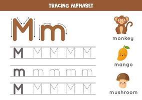 alfabet letter m traceren met schattige cartoonafbeeldingen.