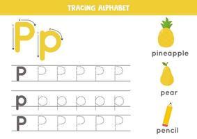 alfabet letter p traceren met schattige cartoonafbeeldingen.