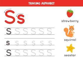 s is voor sea star, eekhoorn, aardbei. tracing Engels alfabet werkblad.