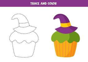 tracing werkblad met schattige halloween cupcake. vector