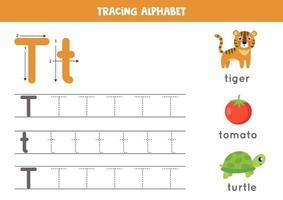 handschriftoefening met alfabetletter. traceren t.