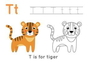 kleur- en overtrekpagina met letter t en schattige cartoon tijger.