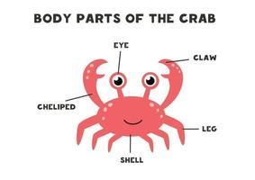 lichaamsdelen van de krab. regeling voor kinderen. vector