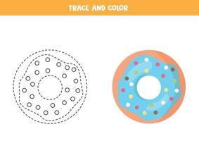 trace en kleur schattige blauwe donut. werkblad voor kinderen.