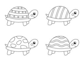 kleur zwart-witte schildpadden. kleurplaat voor kinderen. vector