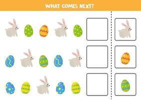 wat komt er volgende spel met schattig konijn en paaseieren. vector