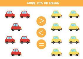 meer, minder, gelijk aan kleurrijke cartoonauto's.