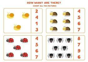 tel alle schattige insecten en omcirkel de juiste antwoorden. wiskundig spel voor kinderen. vector