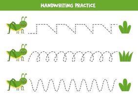 traceer de lijnen met schattige sprinkhaan en gras. Schrijf oefening. vector