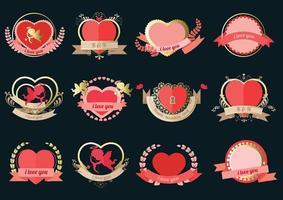 hartlabel ingesteld voor trouwkaart of Valentijnsdag vector