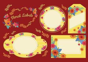 bloemen label set vector