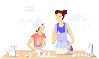 moeder en dochter die thuis samen pannenkoeken maken