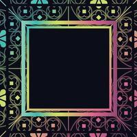 floral middeleeuwse patroon achtergrond sjabloon vierkante donkere regenboog vector