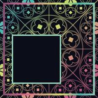 bloemen middeleeuws patroon achtergrond sjabloon kwart donkere regenboog vector