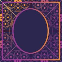 bloemen middeleeuws patroon sjabloon als achtergrond ovaal gloeiend paars vector