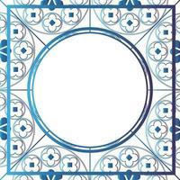 floral middeleeuwse patroon achtergrond sjabloon cirkel metallic blauw vector