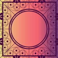 bloemen middeleeuws patroon achtergrond sjabloon cirkel bes pinks vector