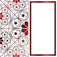 floral middeleeuwse patroon achtergrond sjabloon rechthoek metallic rood vector