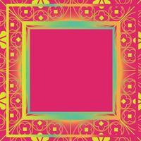floral middeleeuwse patroon achtergrond sjabloon vierkante koraal aqua vector