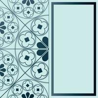 floral middeleeuwse patroon achtergrond sjabloon rechthoek blauwe tinten vector