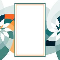 grafische bloem rechthoek sjabloon met kopie ruimte turkoois oranje vector