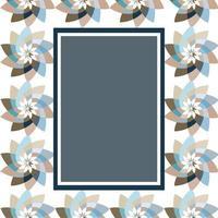 grafisch bloem rechthoekig sjabloon met kopie ruimte marineblauw vector