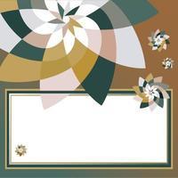grafisch bloem rechthoekig sjabloon met kopie ruimte groenblauw goud vector