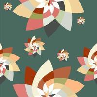 grafische bloem scatter patroon achtergrond blauwgroen perzik vector
