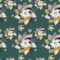 grafische bloemen scatter patroon achtergrond groen goud vector